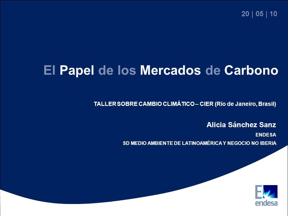 20 | 05 | 10 TALLER SOBRE CAMBIO CLIMÁTICO – CIER (Río de Janeiro, Brasil) Alicia Sánchez Sanz ENDESA SD MEDIO AMBIENTE DE LATINOAMÉRICA Y NEGOCIO NO