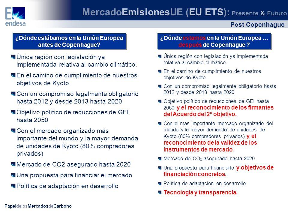 PapeldelosMercadosdeCarbono Única región con legislación ya implementada relativa al cambio climático. En el camino de cumplimiento de nuestros objeti