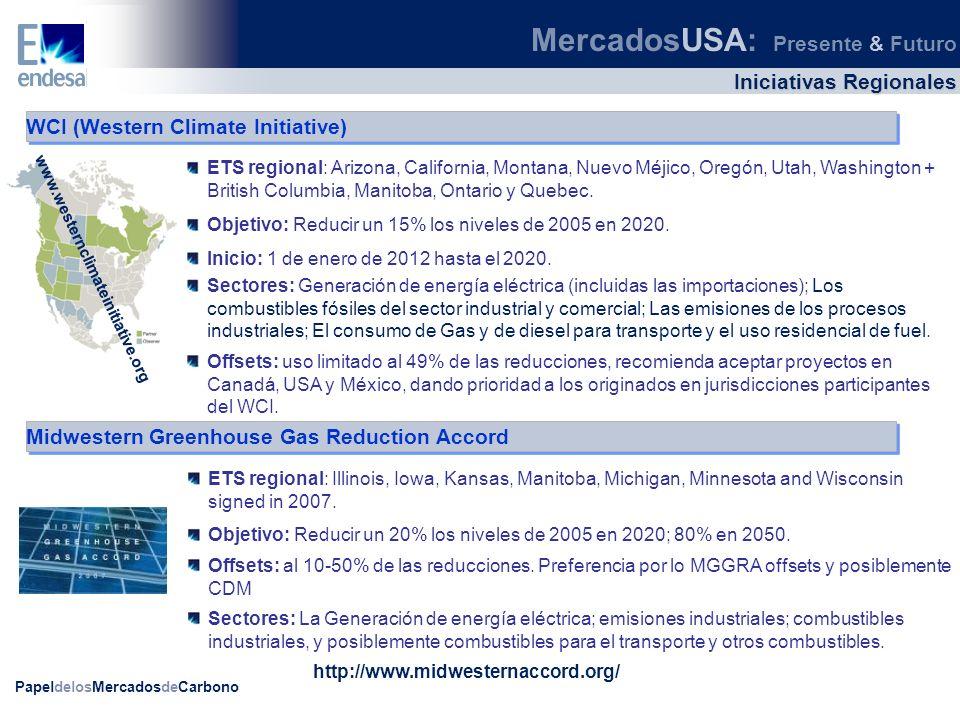 PapeldelosMercadosdeCarbono WCI (Western Climate Initiative) ETS regional: Arizona, California, Montana, Nuevo Méjico, Oregón, Utah, Washington + Brit