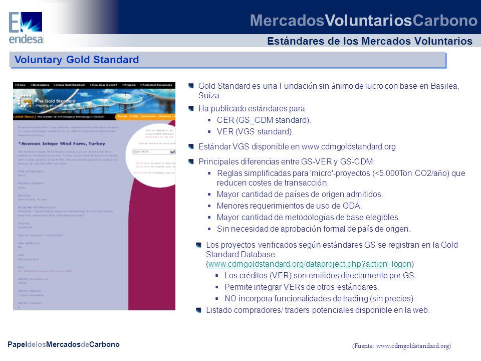 PapeldelosMercadosdeCarbono Estándares de los Mercados Voluntarios Gold Standard es una Fundaci ó n sin á nimo de lucro con base en Basilea, Suiza. (F