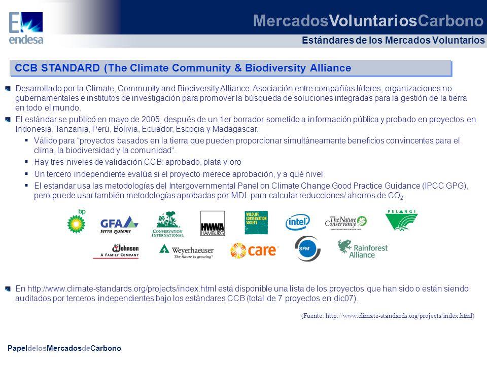 PapeldelosMercadosdeCarbono Desarrollado por la Climate, Community and Biodiversity Alliance: Asociación entre compañías líderes, organizaciones no gu