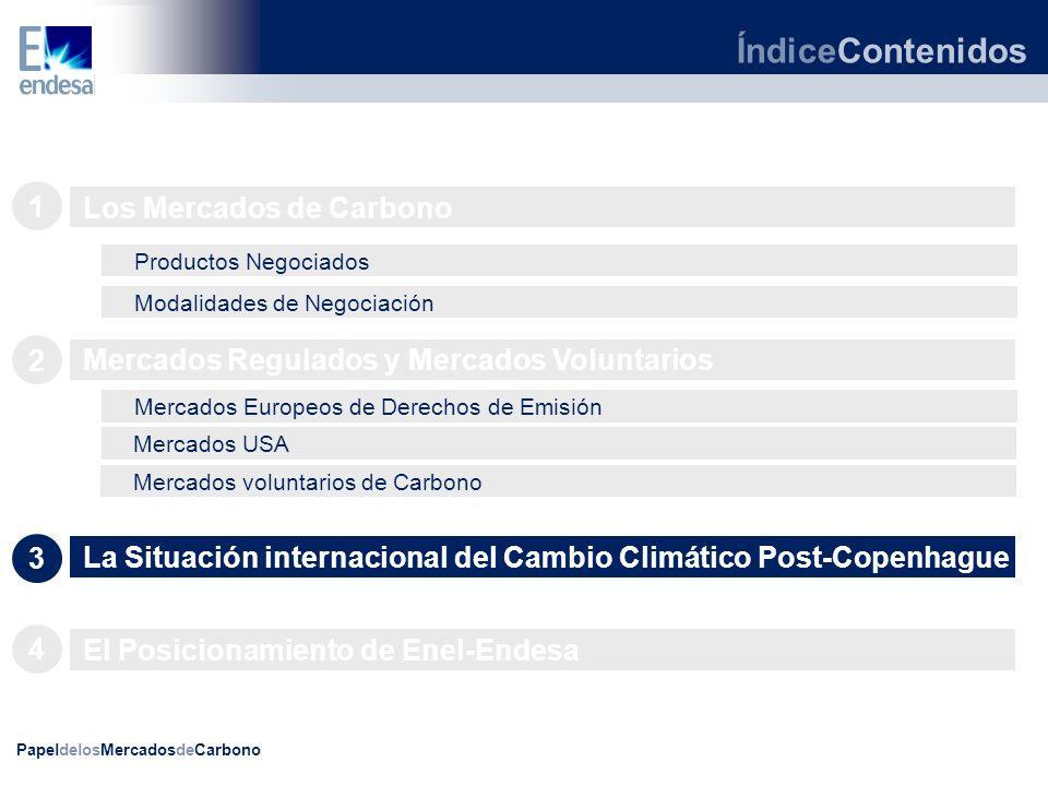 PapeldelosMercadosdeCarbono ÍndiceContenidos Los Mercados de Carbono 1 Productos Negociados Modalidades de Negociación Mercados voluntarios de Carbono