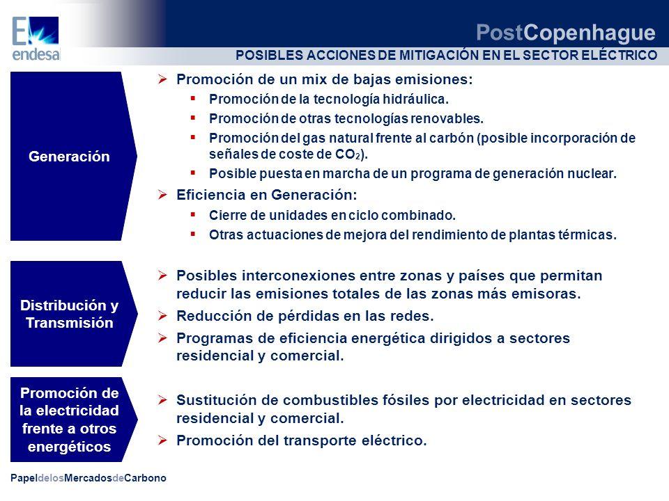 PapeldelosMercadosdeCarbono POSIBLES ACCIONES DE MITIGACIÓN EN EL SECTOR ELÉCTRICO Promoción de un mix de bajas emisiones: Promoción de la tecnología