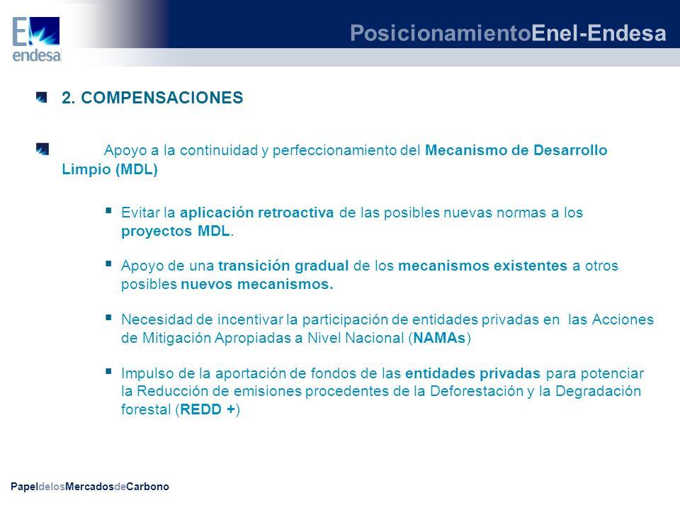 PapeldelosMercadosdeCarbono 2. COMPENSACIONES Apoyo a la continuidad y perfeccionamiento del Mecanismo de Desarrollo Limpio (MDL) Evitar la aplicación