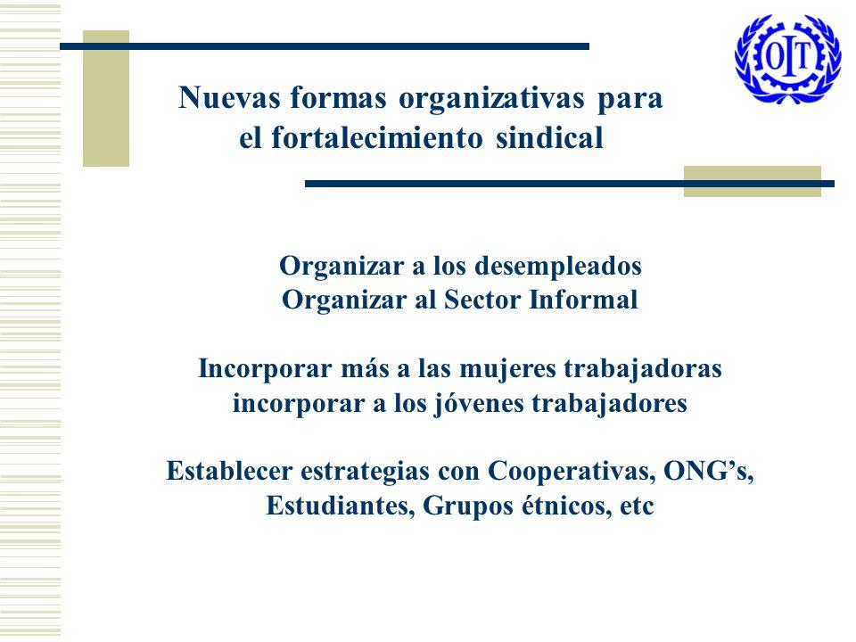 Nuevas formas organizativas para el fortalecimiento sindical Organizar a los desempleados Organizar al Sector Informal Incorporar más a las mujeres tr