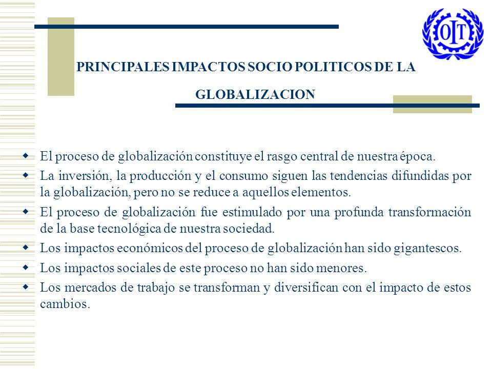 PRINCIPALES IMPACTOS SOCIO POLITICOS DE LA GLOBALIZACION El proceso de globalización constituye el rasgo central de nuestra época. La inversión, la pr