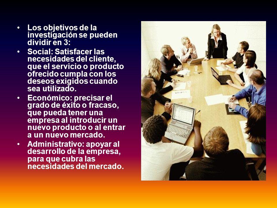 Los objetivos de la investigación se pueden dividir en 3: Social: Satisfacer las necesidades del cliente, que el servicio o producto ofrecido cumpla c