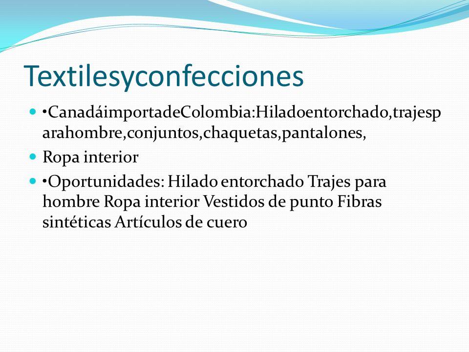 Textilesyconfecciones CanadáimportadeColombia:Hiladoentorchado,trajesp arahombre,conjuntos,chaquetas,pantalones, Ropa interior Oportunidades: Hilado e