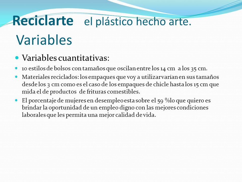 Reciclarte el plástico hecho arte. Variables Variables cuantitativas: 10 estilos de bolsos con tamaños que oscilan entre los 14 cm a los 35 cm. Materi