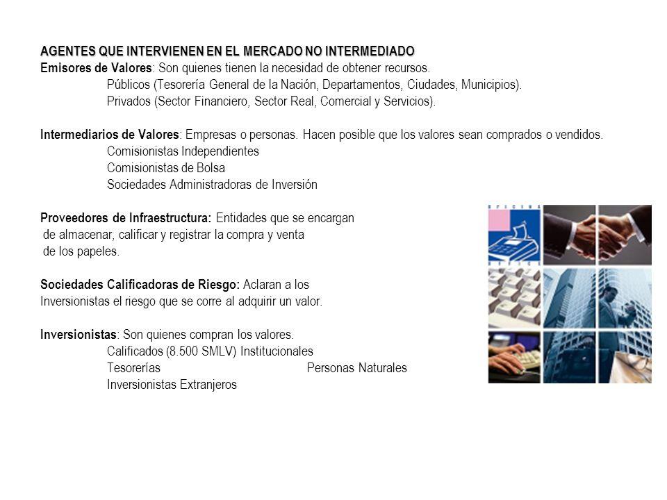 AGENTES QUE INTERVIENEN EN EL MERCADO NO INTERMEDIADO Emisores de Valores : Son quienes tienen la necesidad de obtener recursos. Públicos (Tesorería G