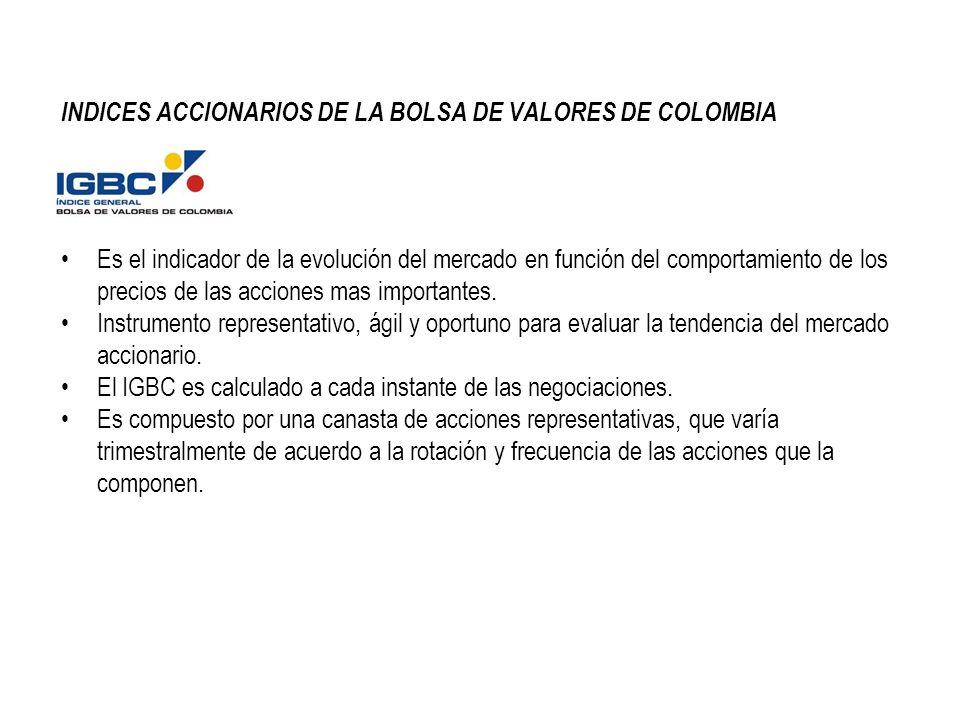 INDICES ACCIONARIOS DE LA BOLSA DE VALORES DE COLOMBIA Es el indicador de la evolución del mercado en función del comportamiento de los precios de las acciones mas importantes.