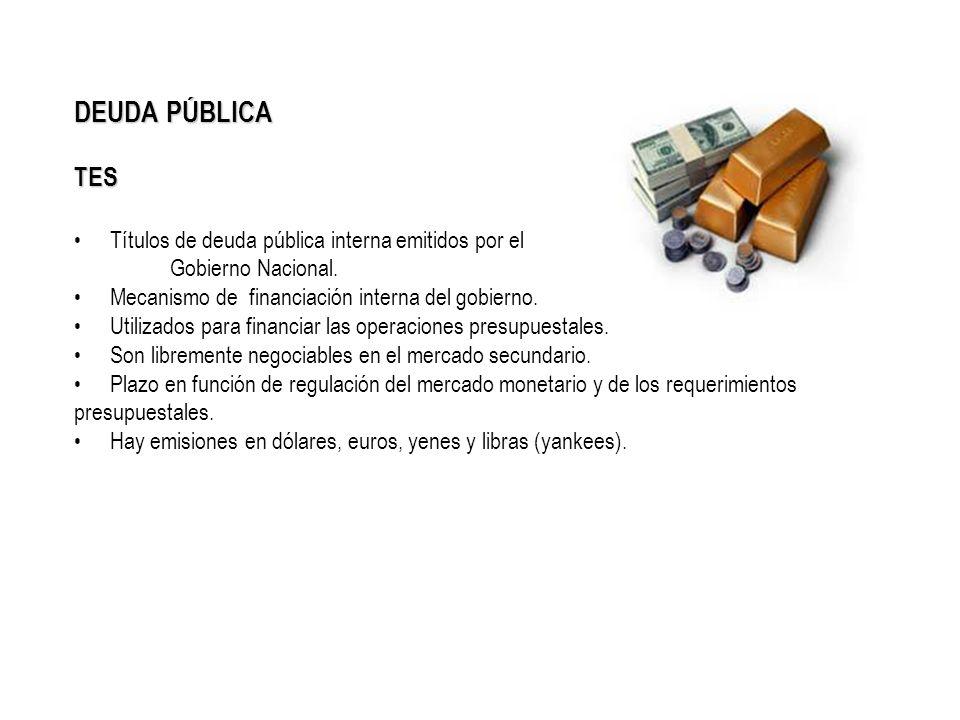 DEUDA PÚBLICA TES Títulos de deuda pública interna emitidos por el Gobierno Nacional. Mecanismo de financiación interna del gobierno. Utilizados para