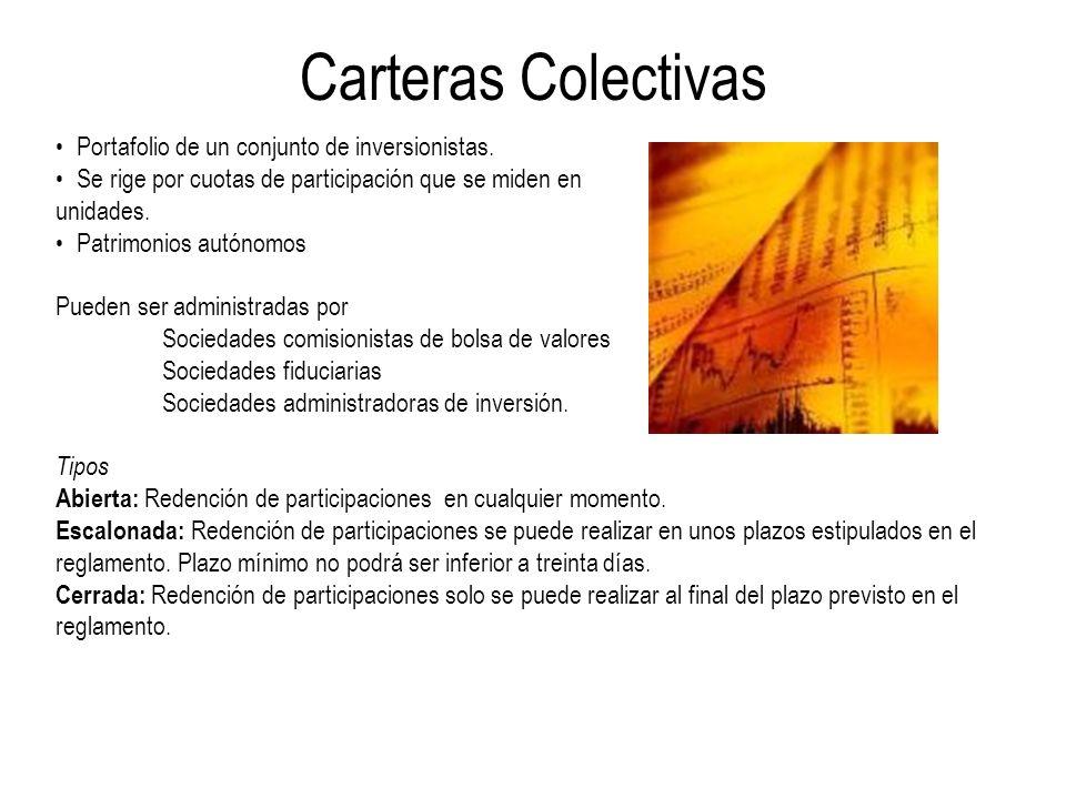 Carteras Colectivas Portafolio de un conjunto de inversionistas.