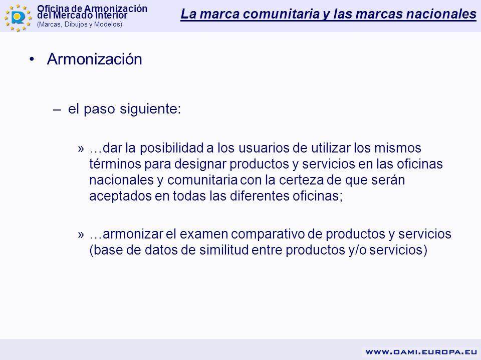 Oficina de Armonización del Mercado Interior (Marcas, Dibujos y Modelos) Armonización –el paso siguiente: »…dar la posibilidad a los usuarios de utili