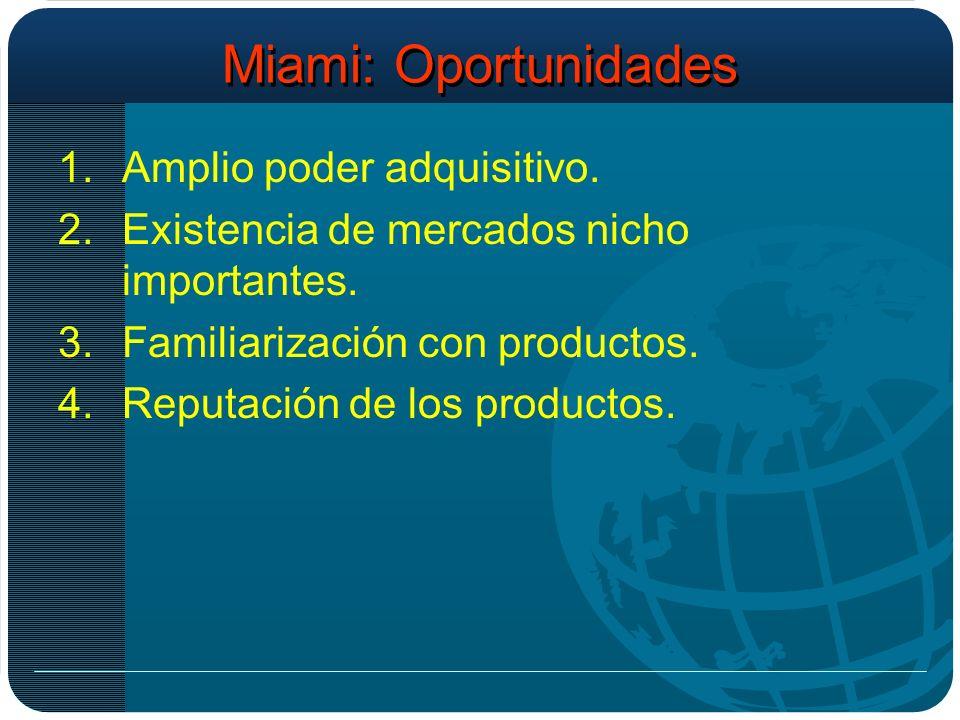 Miami: Oportunidades 1.Amplio poder adquisitivo. 2.Existencia de mercados nicho importantes.