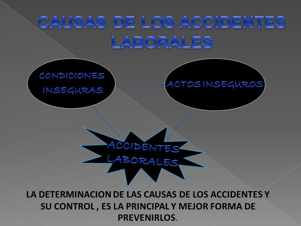 LA DETERMINACION DE LAS CAUSAS DE LOS ACCIDENTES Y SU CONTROL, ES LA PRINCIPAL Y MEJOR FORMA DE PREVENIRLOS.