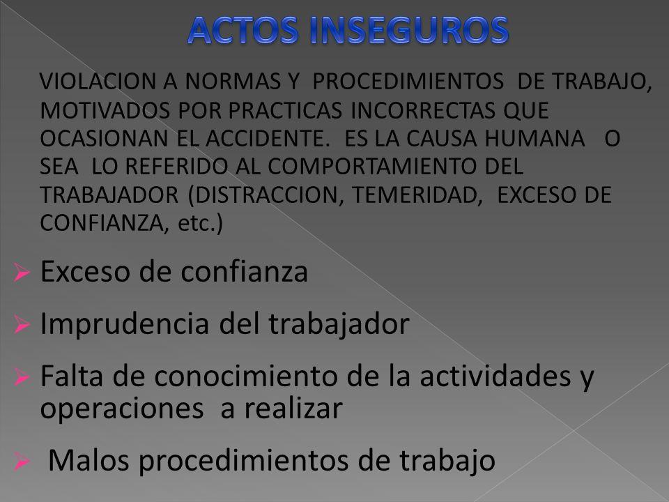 VIOLACION A NORMAS Y PROCEDIMIENTOS DE TRABAJO, MOTIVADOS POR PRACTICAS INCORRECTAS QUE OCASIONAN EL ACCIDENTE.