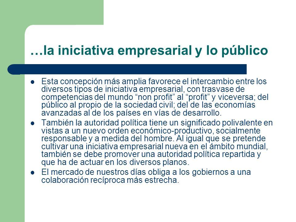 …la iniciativa empresarial y lo público Esta concepción más amplia favorece el intercambio entre los diversos tipos de iniciativa empresarial, con tra