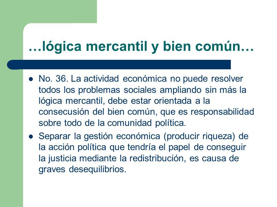 …lógica mercantil y bien común… No. 36. La actividad económica no puede resolver todos los problemas sociales ampliando sin más la lógica mercantil, d