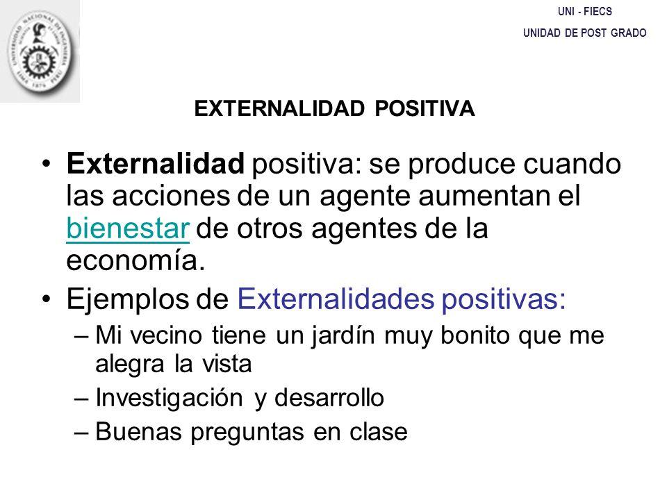 EXTERNALIDAD POSITIVA UNI - FIECS UNIDAD DE POST GRADO Externalidad positiva: se produce cuando las acciones de un agente aumentan el bienestar de otr