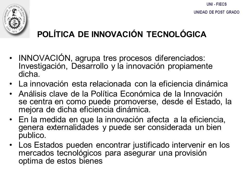 UNI - FIECS UNIDAD DE POST GRADO POLÍTICA DE INNOVACIÓN TECNOLÓGICA INNOVACIÓN, agrupa tres procesos diferenciados: Investigación, Desarrollo y la inn
