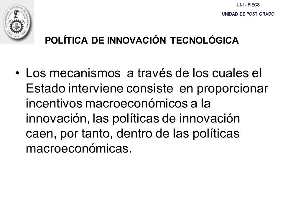 UNI - FIECS UNIDAD DE POST GRADO Los mecanismos a través de los cuales el Estado interviene consiste en proporcionar incentivos macroeconómicos a la i