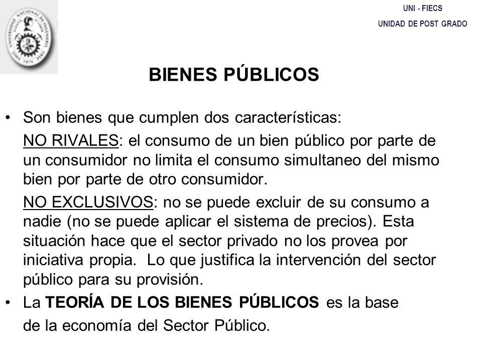 UNI - FIECS UNIDAD DE POST GRADO BIENES PÚBLICOS Son bienes que cumplen dos características: NO RIVALES: el consumo de un bien público por parte de un