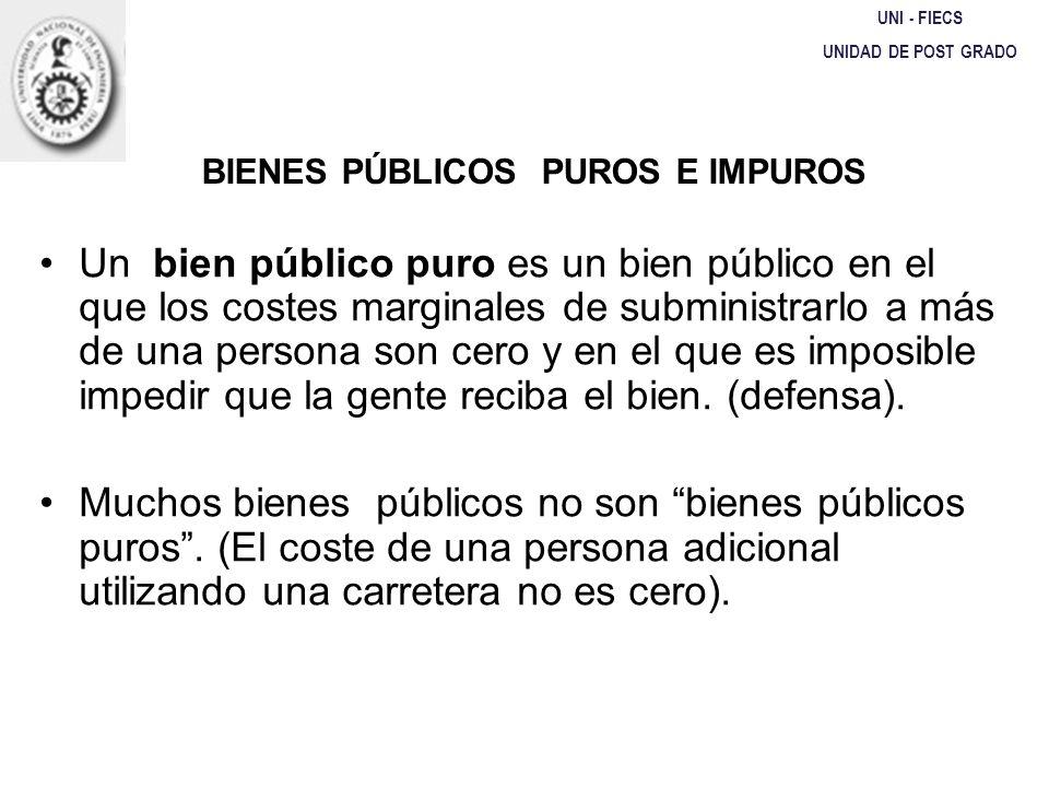 BIENES PÚBLICOS PUROS E IMPUROS UNI - FIECS UNIDAD DE POST GRADO Un bien público puro es un bien público en el que los costes marginales de subministr