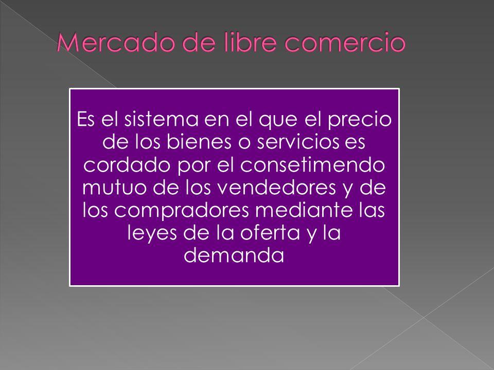 Es el sistema en el que el precio de los bienes o servicios es cordado por el consetimendo mutuo de los vendedores y de los compradores mediante las leyes de la oferta y la demanda