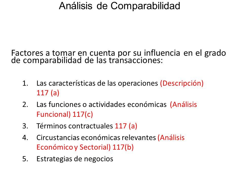 Análisis de Comparabilidad Factores a tomar en cuenta por su influencia en el grado de comparabilidad de las transacciones: 1.Las características de l