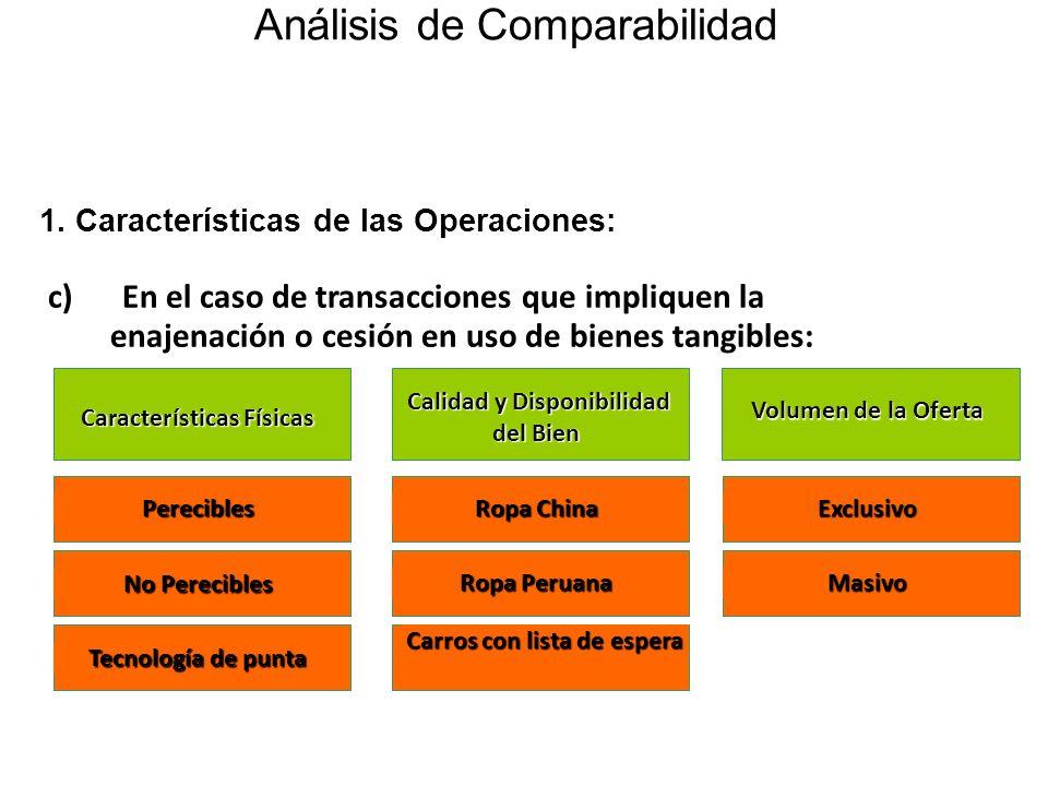 Análisis de Comparabilidad c) En el caso de transacciones que impliquen la enajenación o cesión en uso de bienes tangibles: Características Físicas Ca
