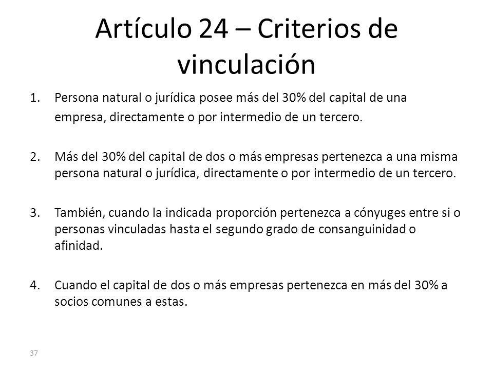 37 Artículo 24 – Criterios de vinculación 1.Persona natural o jurídica posee más del 30% del capital de una empresa, directamente o por intermedio de