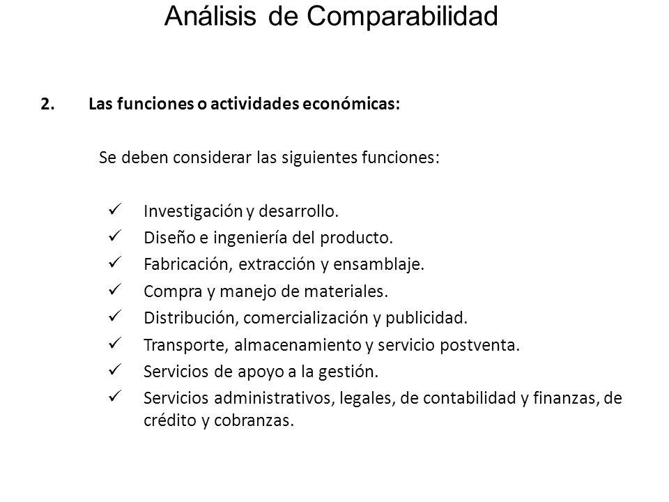 Análisis de Comparabilidad 2.Las funciones o actividades económicas: Se deben considerar las siguientes funciones: Investigación y desarrollo. Diseño