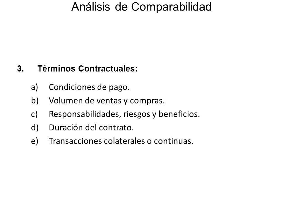 Análisis de Comparabilidad 3.Términos Contractuales: a)Condiciones de pago. b)Volumen de ventas y compras. c)Responsabilidades, riesgos y beneficios.