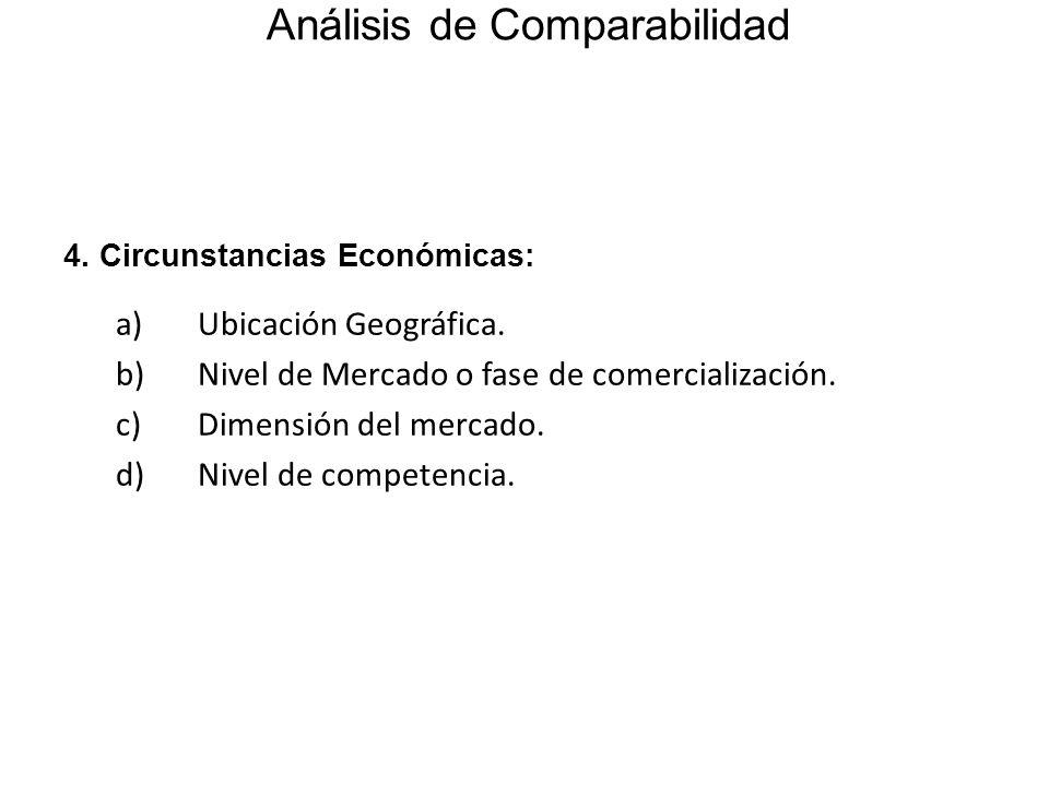 4. Circunstancias Económicas: a) Ubicación Geográfica. b) Nivel de Mercado o fase de comercialización. c) Dimensión del mercado. d) Nivel de competenc