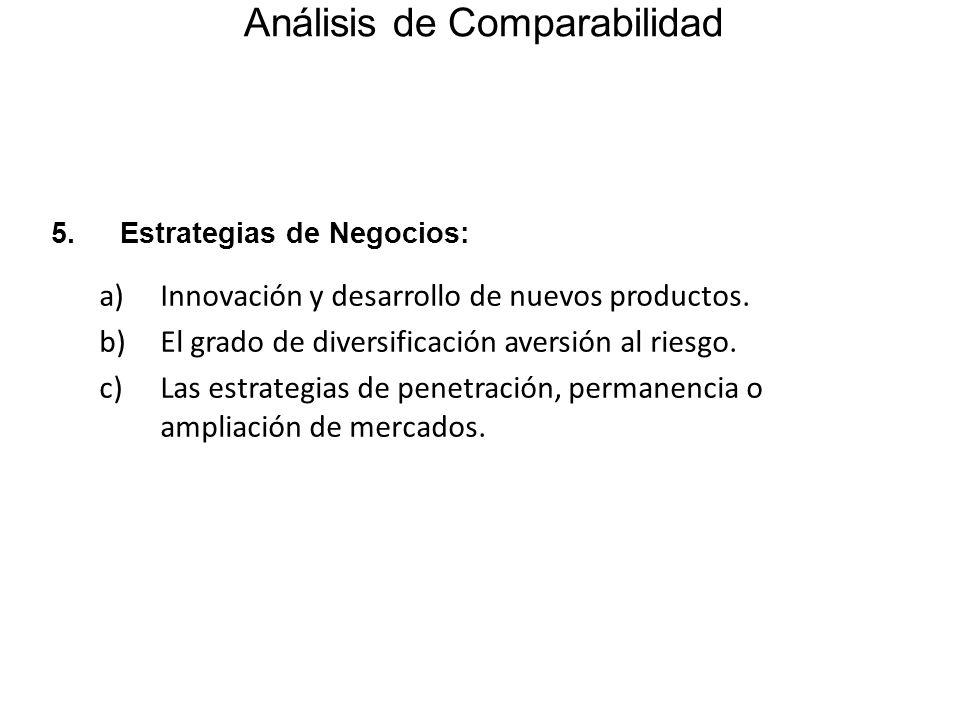 5.Estrategias de Negocios: a)Innovación y desarrollo de nuevos productos. b)El grado de diversificación aversión al riesgo. c)Las estrategias de penet
