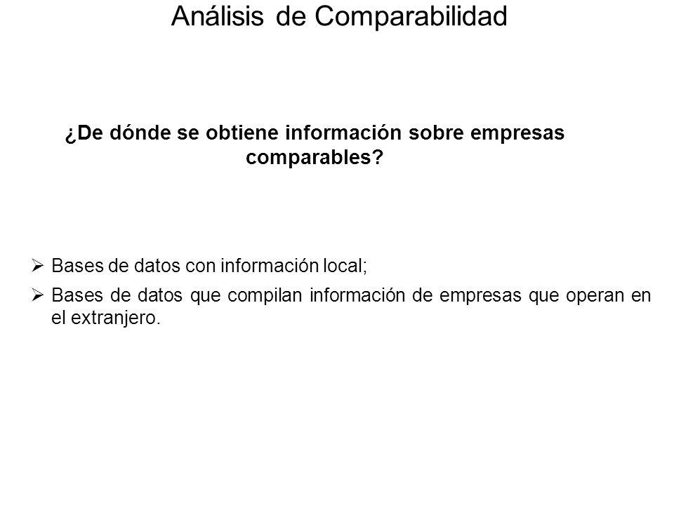 ¿De dónde se obtiene información sobre empresas comparables? Bases de datos con información local; Bases de datos que compilan información de empresas