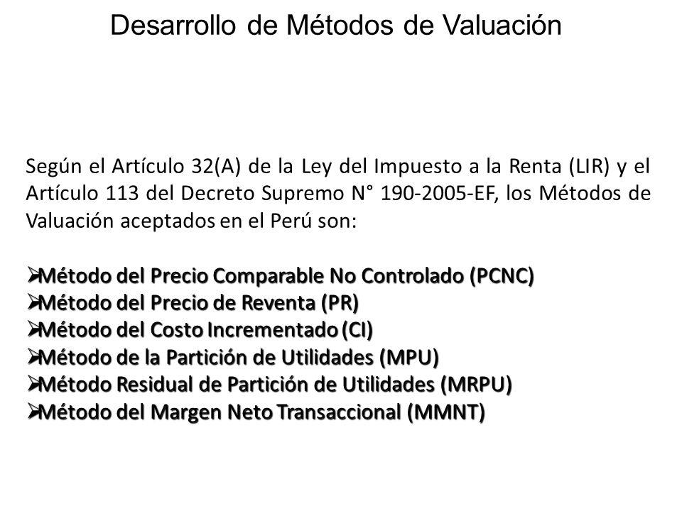 Según el Artículo 32(A) de la Ley del Impuesto a la Renta (LIR) y el Artículo 113 del Decreto Supremo N° 190-2005-EF, los Métodos de Valuación aceptad