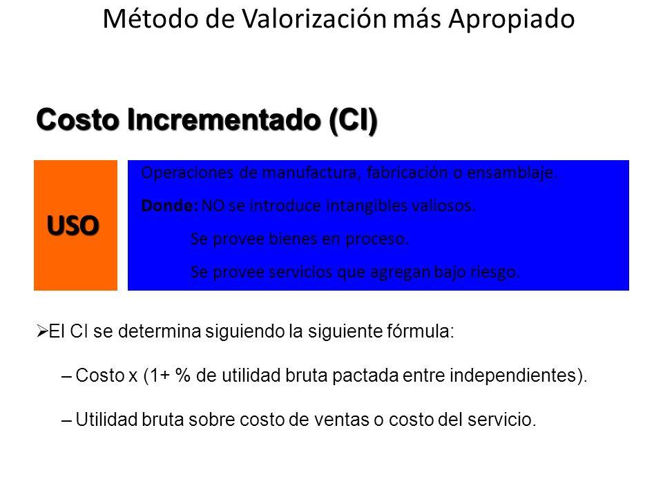 Costo Incrementado (CI) El CI se determina siguiendo la siguiente fórmula: –Costo x (1+ % de utilidad bruta pactada entre independientes). –Utilidad b