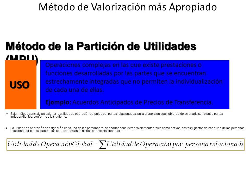 Método de la Partición de Utilidades (MPU) Este método consiste en asignar la utilidad de operación obtenida por partes relacionadas, en la proporción