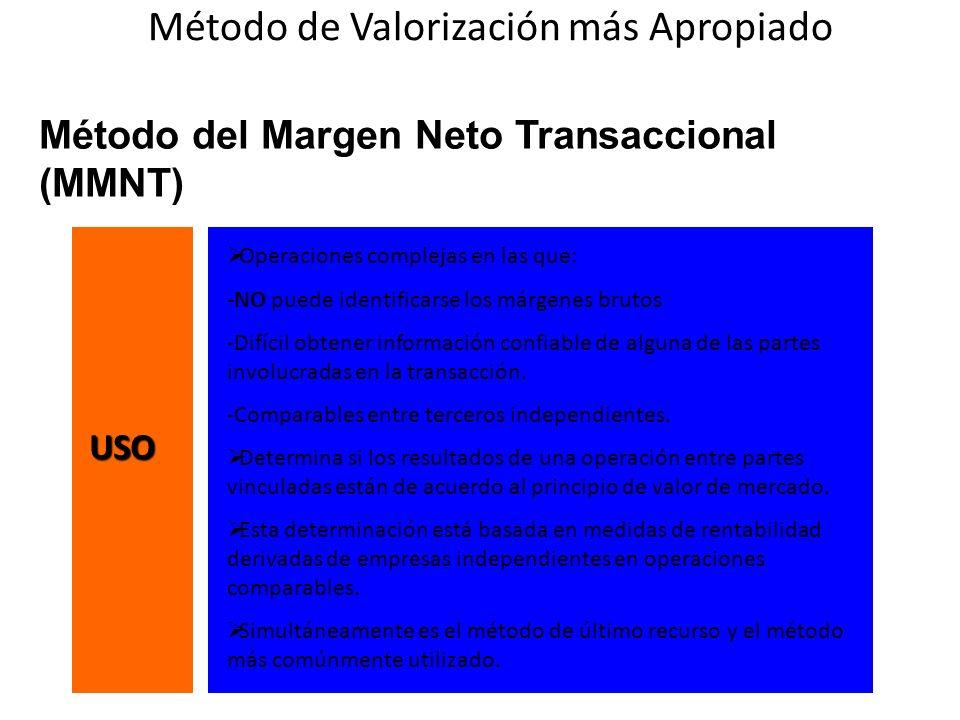 Método del Margen Neto Transaccional (MMNT) Operaciones complejas en las que: -NO puede identificarse los márgenes brutos -Difícil obtener información