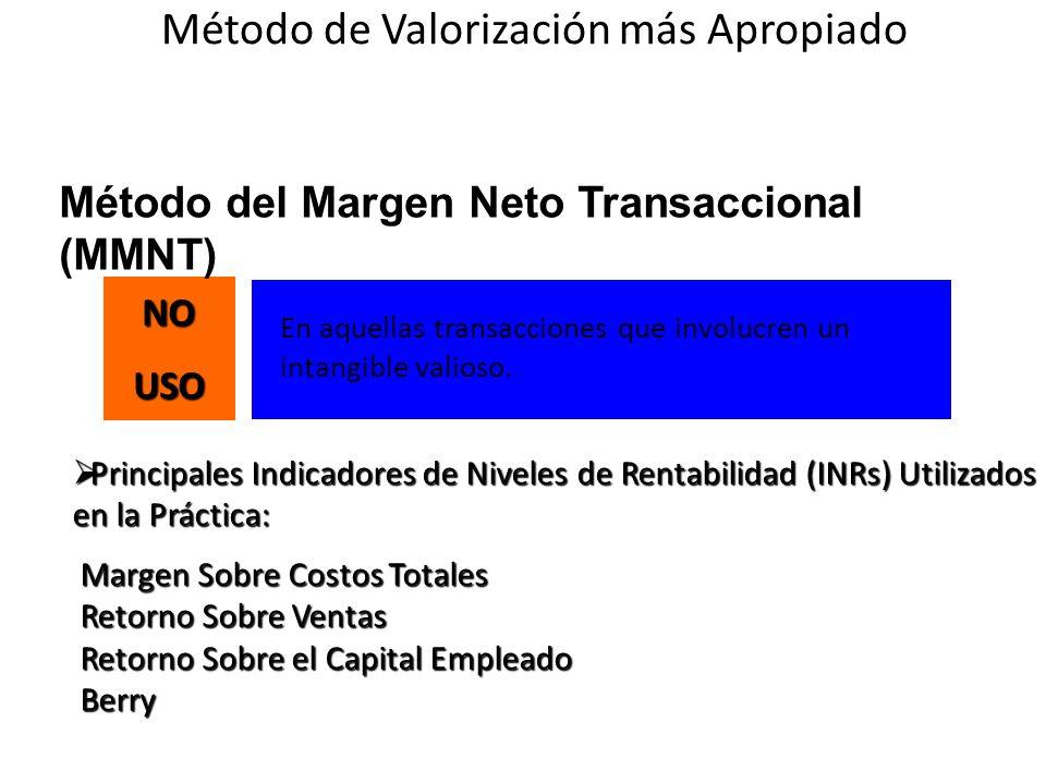 En aquellas transacciones que involucren un intangible valioso.NOUSO Método del Margen Neto Transaccional (MMNT) Principales Indicadores de Niveles de