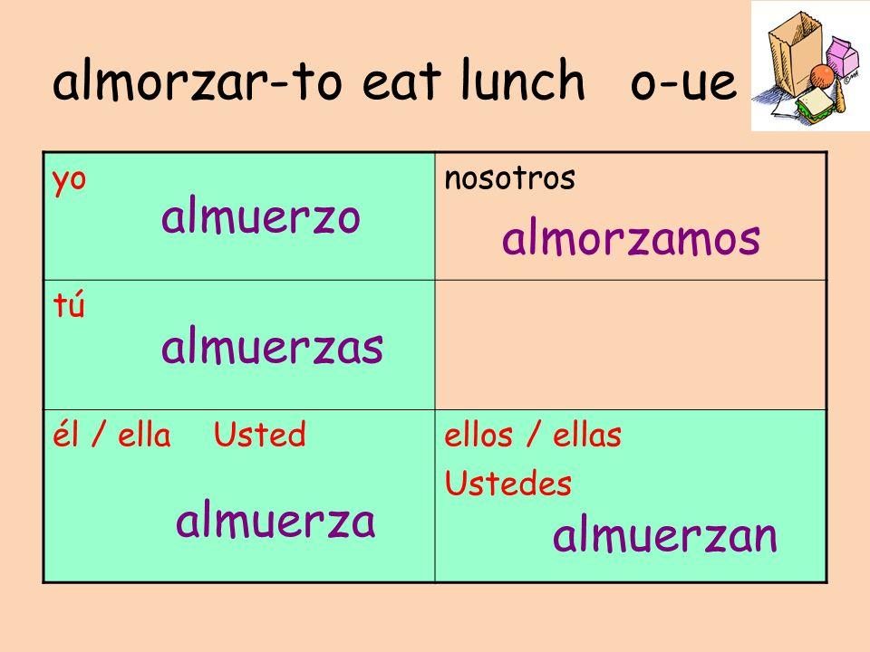 almorzar-to eat lunch o-ue yonosotros tú él / ella Ustedellos / ellas Ustedes almuerzo almuerzas almuerza almorzamos almuerzan