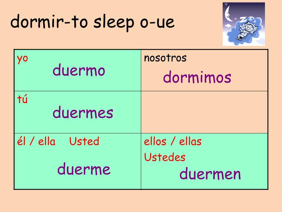 dormir-to sleep o-ue yonosotros tú él / ella Ustedellos / ellas Ustedes duermo duermes duerme dormimos duermen