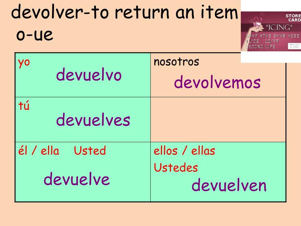 devolver-to return an item o-ue yonosotros tú él / ella Ustedellos / ellas Ustedes devuelvo devuelves devuelve devolvemos devuelven
