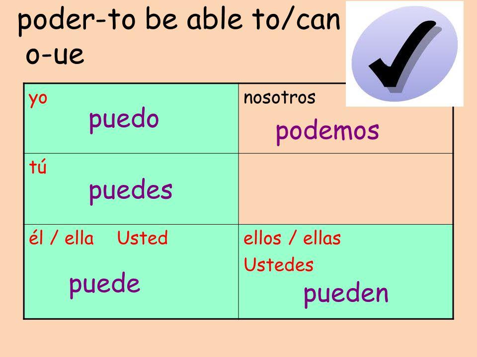 poder-to be able to/can o-ue yonosotros tú él / ella Ustedellos / ellas Ustedes puedo puedes puede podemos pueden