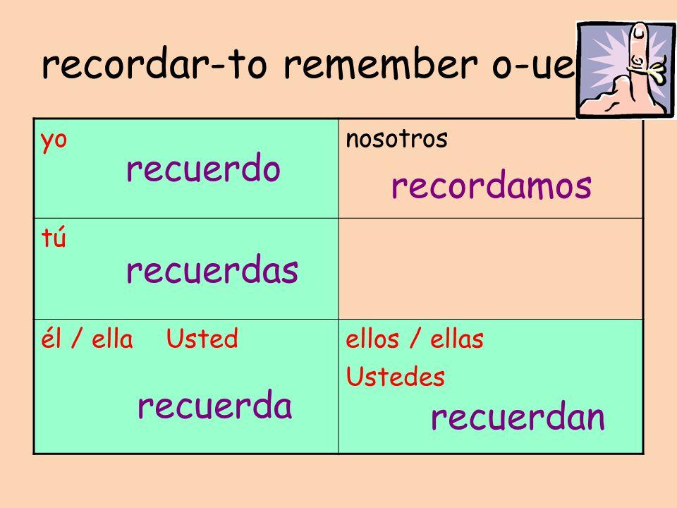 recordar-to remember o-ue yonosotros tú él / ella Ustedellos / ellas Ustedes recuerdo recuerdas recuerda recordamos recuerdan