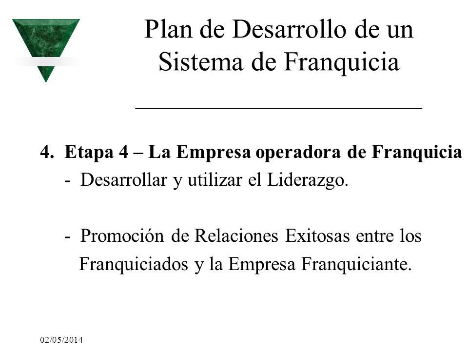02/05/2014 Plan de Desarrollo de un Sistema de Franquicia _____________________ 4. Etapa 4 – La Empresa operadora de Franquicia - Desarrollar y utiliz