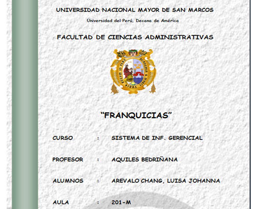 02/05/2014 INDICE ANTECEDENTES: CONCEPTO DE FRANQUICIA: DEFINICIONES DE FRANQUICIA TIPOS DE FRANQUICIAS LA EXPANSIÓN POR MEDIO DE FRANQUICIAS PLAN DE DESARROLLO DE UN SISTEMA DE FRANQUICIA ASPECTOS LEGALES VENTAJAS Y DESVENTAJAS DE LA FRANQUICIA LA FRANQUICIA EN EL PERÚ PARDO`S CHICKEN: Un Caso de Éxito