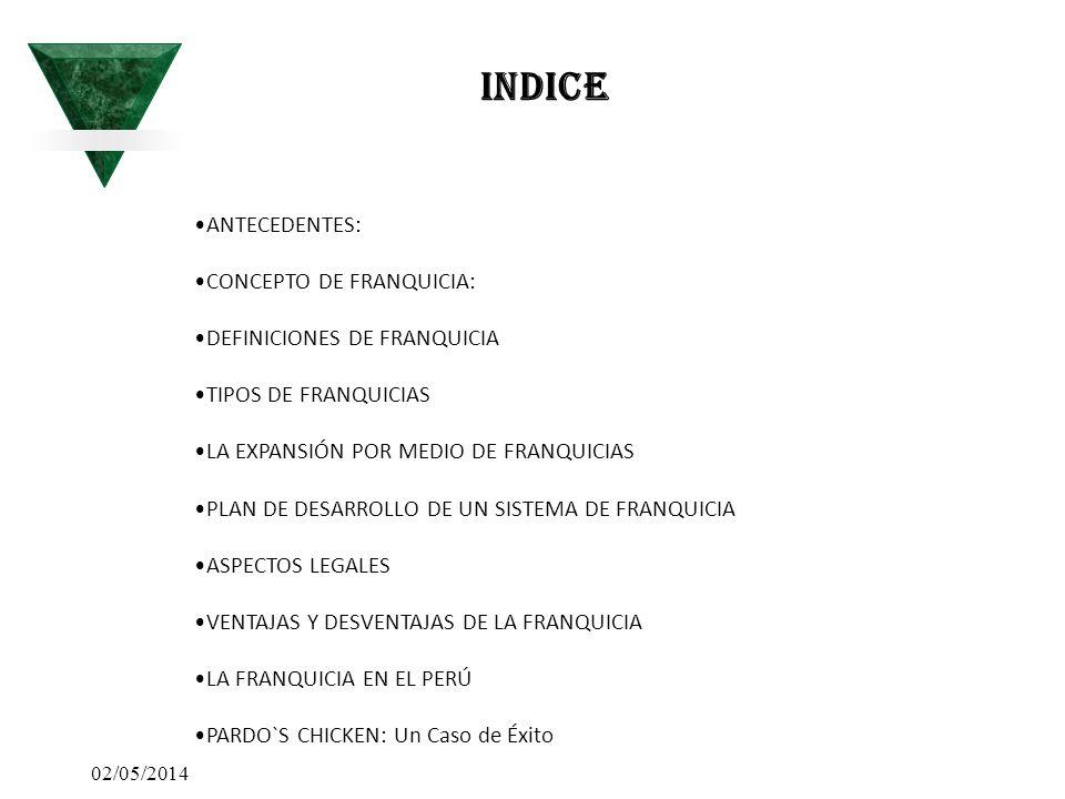 02/05/2014 INDICE ANTECEDENTES: CONCEPTO DE FRANQUICIA: DEFINICIONES DE FRANQUICIA TIPOS DE FRANQUICIAS LA EXPANSIÓN POR MEDIO DE FRANQUICIAS PLAN DE